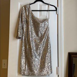 BB Dakota slim fit gold sequin one shoulder dress